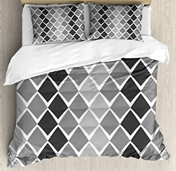 Amazoncom Ambesonne Grey And White Queen Size Duvet Cover Set - Geometrical-shapes-on-bedding