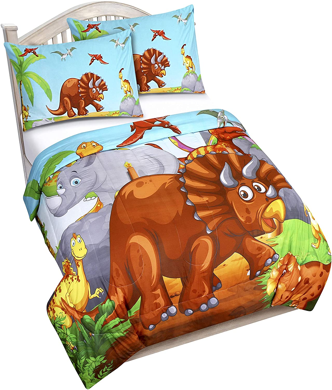 Utopia Bedding All Season Dinosaur Comforter Set - 3 Piece Brushed Microfiber Kids Bedding Set - Twin/Twin XL
