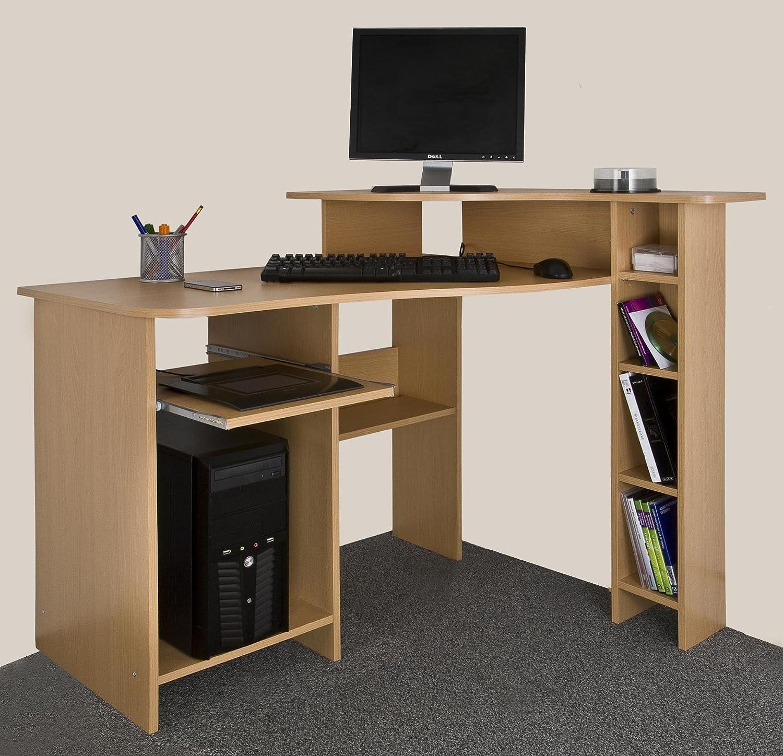 Compact Corner Desk Compact Corner Desk Beech Wood Amazoncouk Office Products