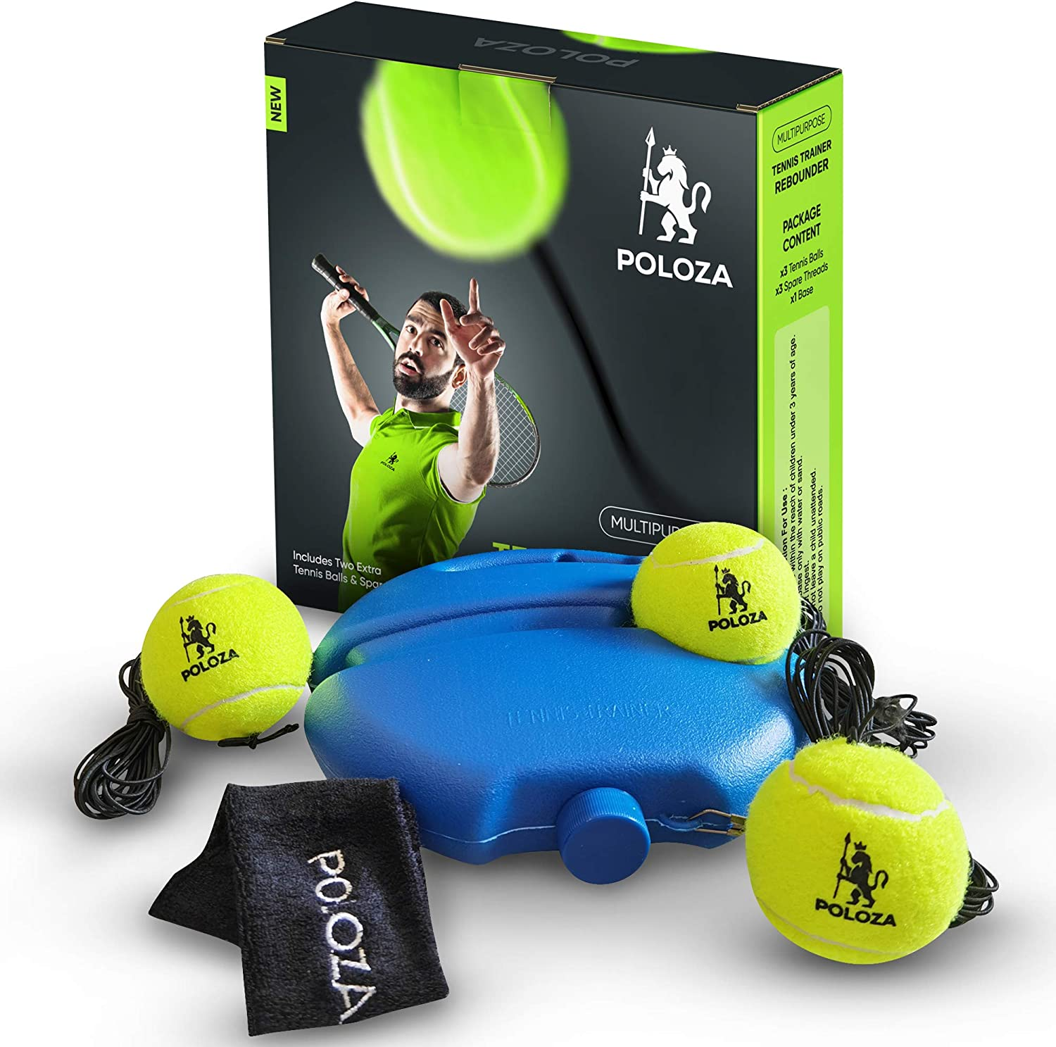 POLOZA Professional Tennis Trainer – Tennis Trainer Rebound Ball – Tennis Equipment for Self-Practice – Portable Tennis Practice Rebounder – Solo Tennis Trainer with Long Ropes and Tennis Headband