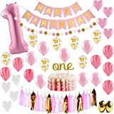 "Baby Girl First Birthday Decorations - 1st Birthday Girl Decorations Pink and Gold Party Supplies - Happy First Birthday Banner, Number 1, Heart and Confetti Balloons, Premium ""ONE"" Cake Topper"