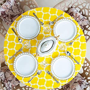 "Home One Round Vinyl Tablecloth with Elastic Edge and Flannel Backing - Waterproof Plastic Fitted Table Cover for Outdoor, Patio, Kitchen and Dining Room - Arabic Mosaic - (Large 45""-56"", Yellow)"