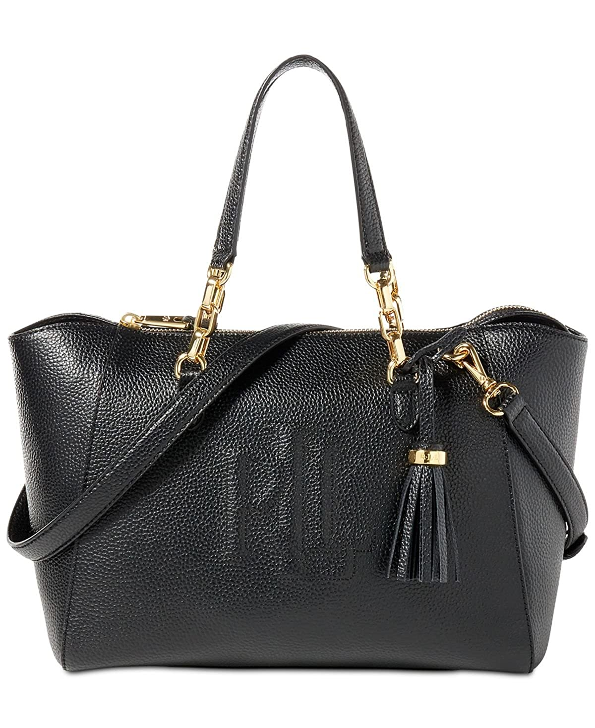 c2d60682d3b8 Amazon.com  Lauren Ralph Lauren Leather Small Stefanie II Satchel (Black)   Shoes