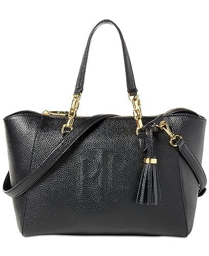 2db2e80458 Amazon.com  Lauren Ralph Lauren Leather Small Stefanie II Satchel (Black)   Shoes