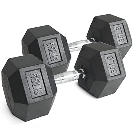 Pair 65 lb Black Rubber Coated Hex Dumbbells Weight Training Set 130 lb Fitness