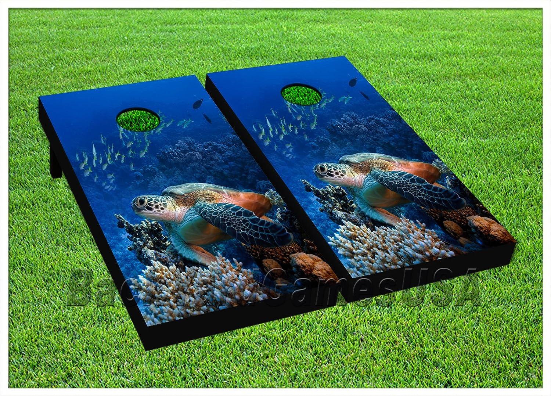 CORNHOLE Set BEANBAG TOSS GAME Ocean Fish Aquarium Corn Hole Boards  Bags set 16