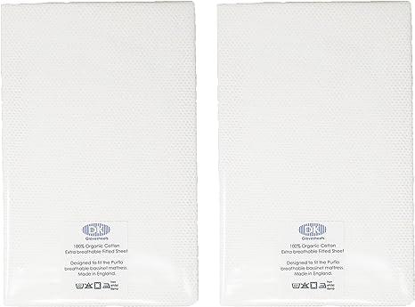 DK Glovesheets – Sábana bajera dos algodón orgánico transpirable de color blanco sábana bajera ajustable diseñado para adaptarse a la PurFlo cuna cuna colchón 74 x 30 cm: Amazon.es: Bebé