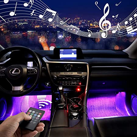 YICANG Car Interior Lighting,Wirless Led Atmosphere Music Rhythm Light Footwell Strips Lamp with Sound Active Function for Car TV Home-USB Port