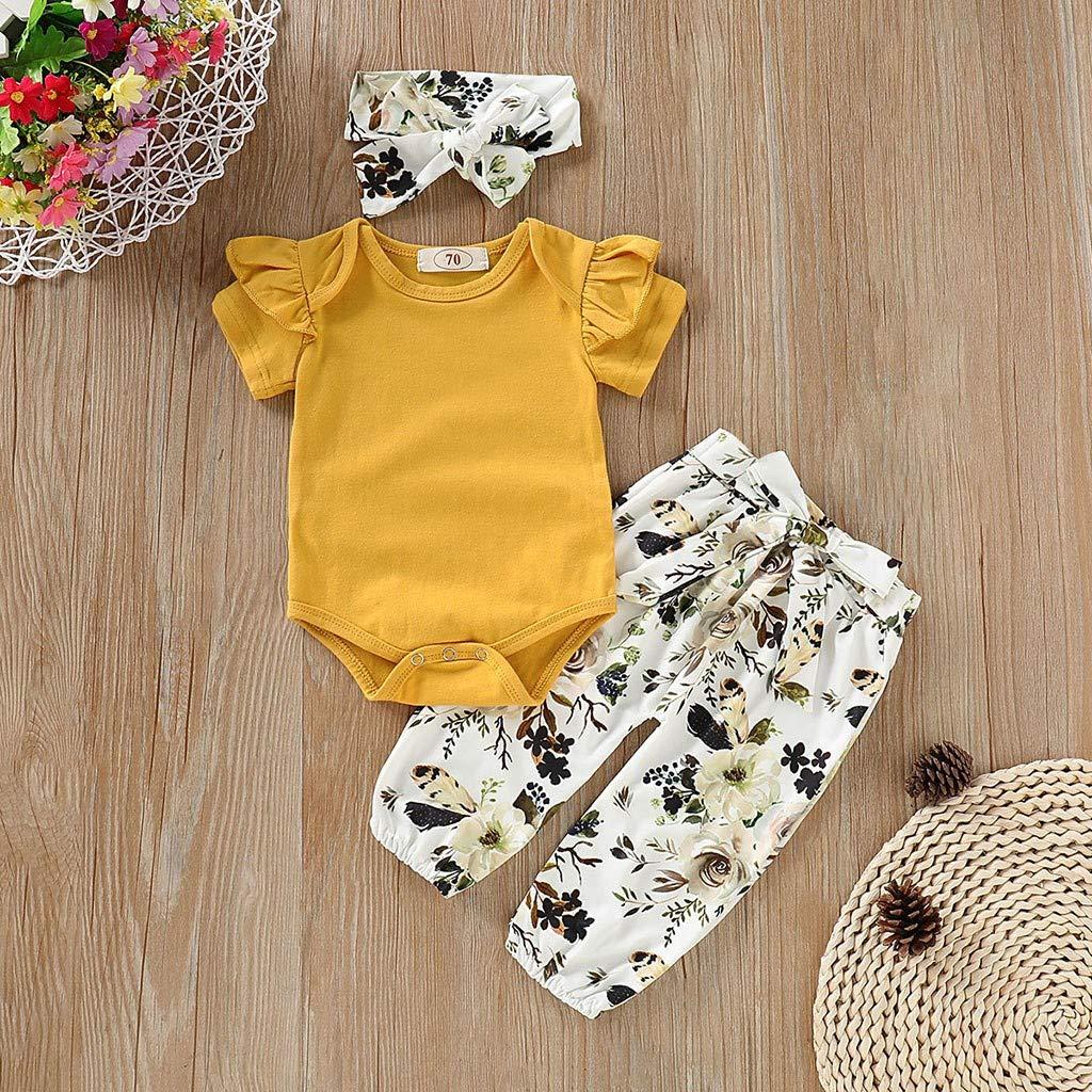 3325b88d26362 Pantalon Floral Mounter Bébé Fille Vêtements 3pcs Manches Courtes Tops  Bandeaux Bébé Fille Ensemble 3-24 Mois