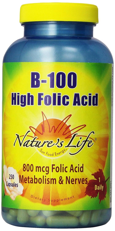 Nature s Life B-100, High Folic Acid, 250 Capsules