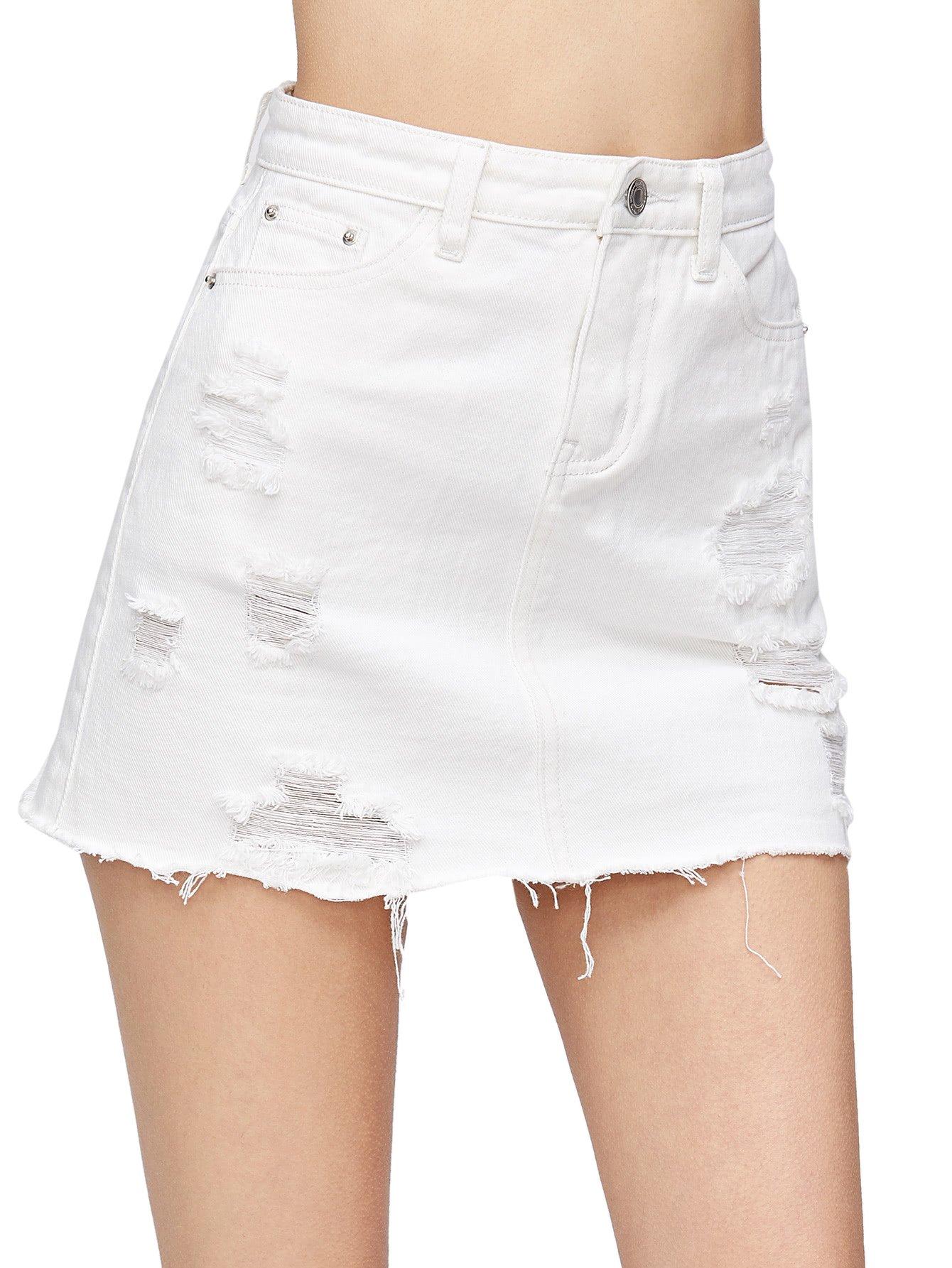 Verdusa Women's Casual Distressed Fray Hem A-Line Denim Short Skirt White S by Verdusa (Image #3)