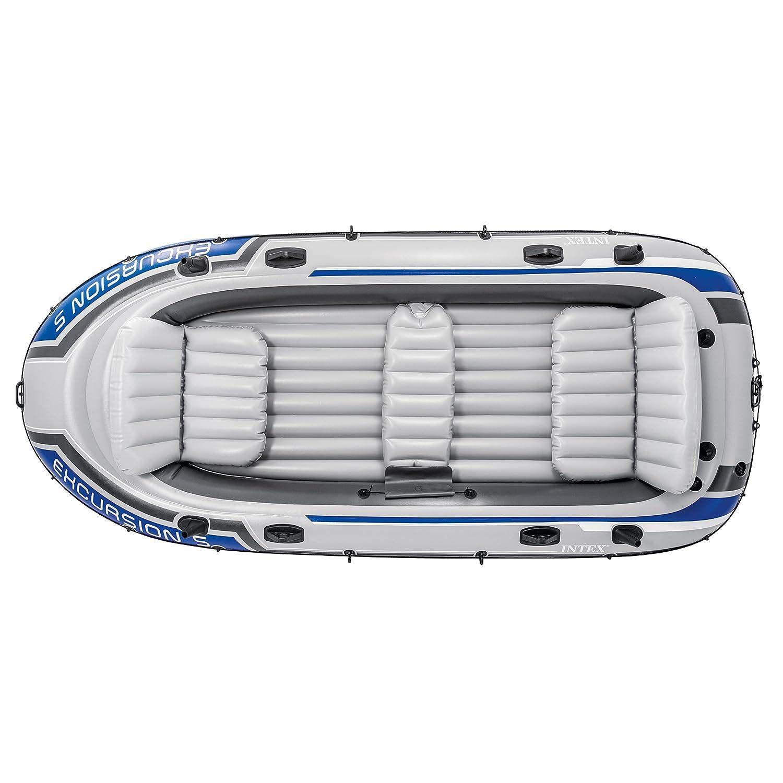 Intex - Barca inflable para 5 personas (incluye bomba de inflar y palas de aluminio, 366 x 168 x 43 cm), color gris y azul: Amazon.es: Deportes y aire libre