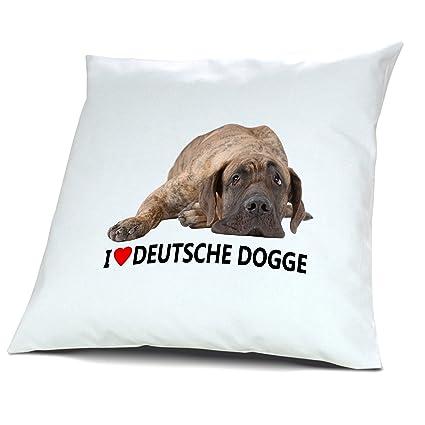 """Almohada perro alemana, cojín con relleno """"I Love Dennis"""", ..."""
