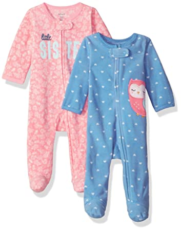 1e4aff288 Carter's Baby Girls' 2-Pack Microfleece Sleep and Play Owl/Sister 3 ...