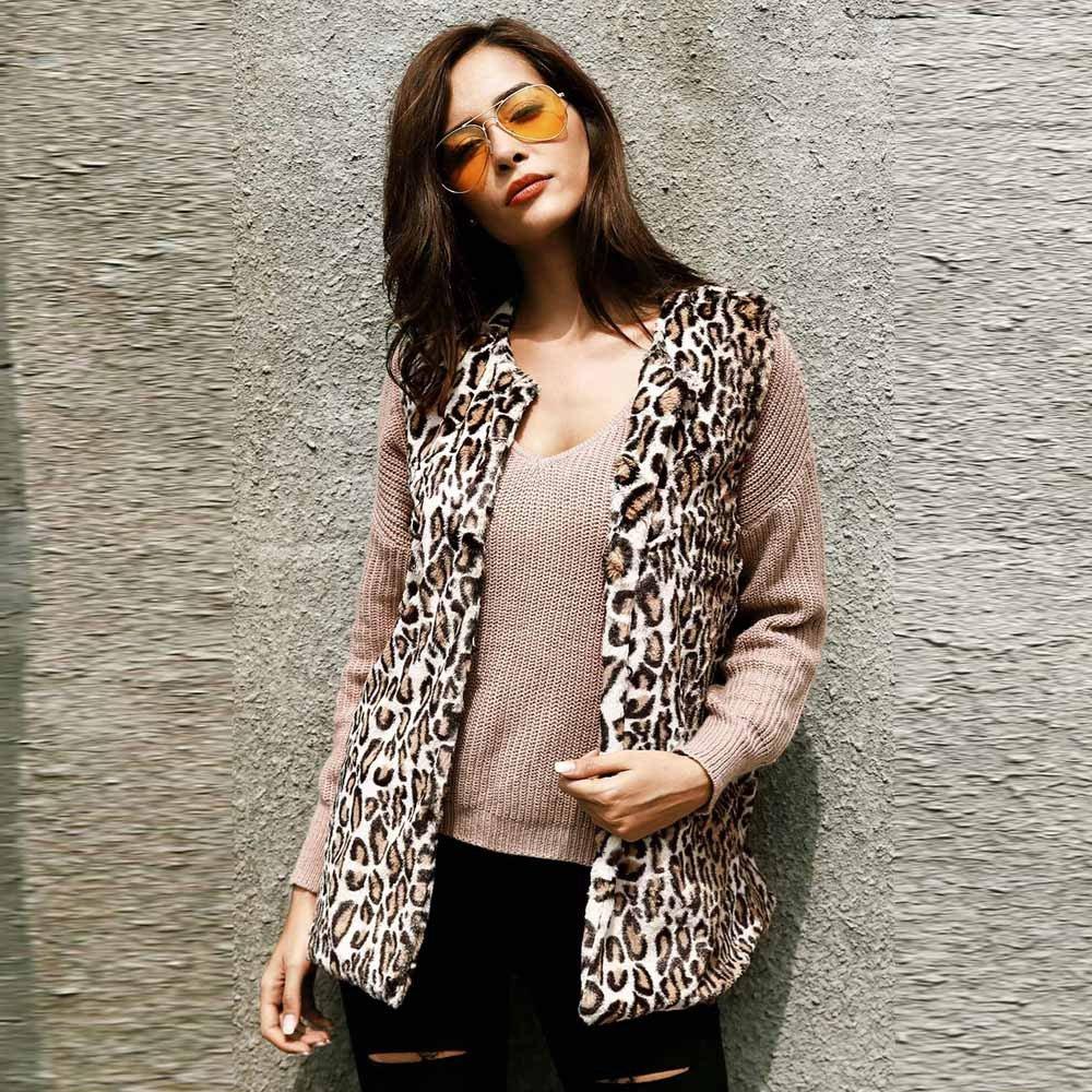 AOJIAN Women Jacket Sleeveless Outwear Leopard Print Open Front Fashion Vest Gilet Coat