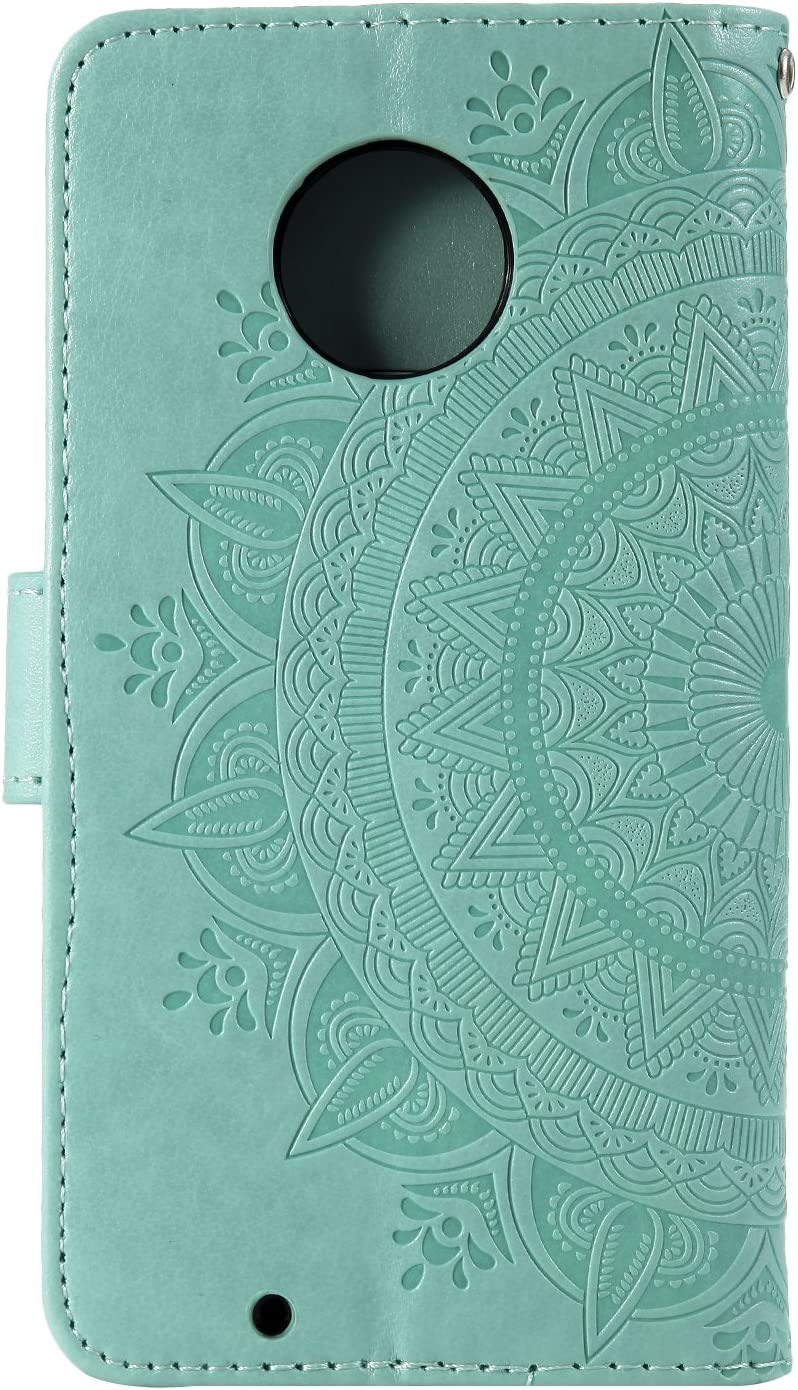IKASEFU Emboss Floral Totem Pu Leather Wallet Strap Case Card Slots Shockproof Magnetic Kickstand Folio Flip Book Cover Protective Case Compatible with MOTO G6 Plus,blue