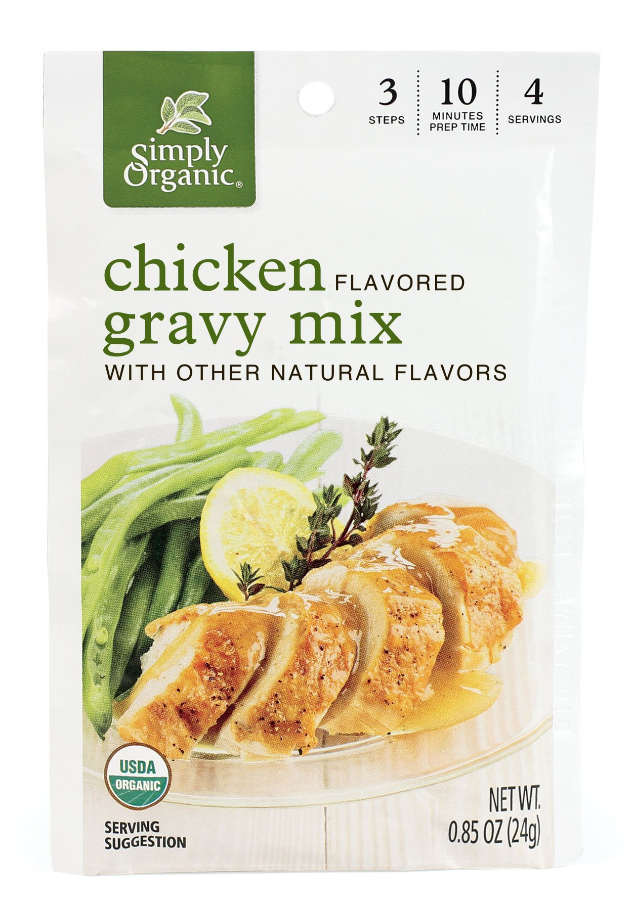 Simply Organic Roasted Chicken Gravy, Seasoning Mix, Certified Organic, 0.85-Ounce Packets (Pack of 12)