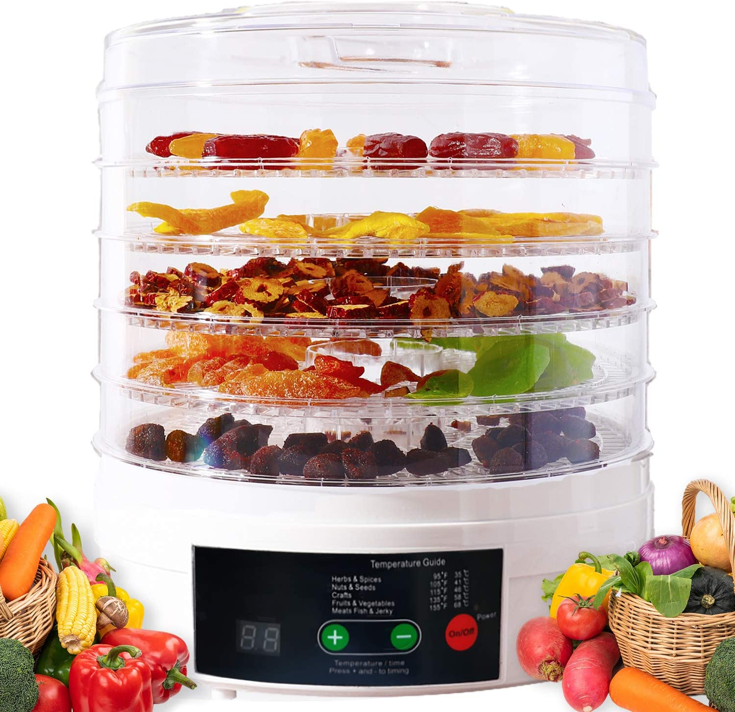 Vchiming Food Dehydrator Machine Electric Dryer for Beef Jerky, Fruit, Meat, Dog Treats, BPA Free 5 Trays Dehydrator with Timer and Temperature Control, Operation Manual and Recipes Included