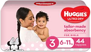 Huggies Ultra Dry Nappies, Girls, Size 3 Crawler (6-11kg), 44 Count