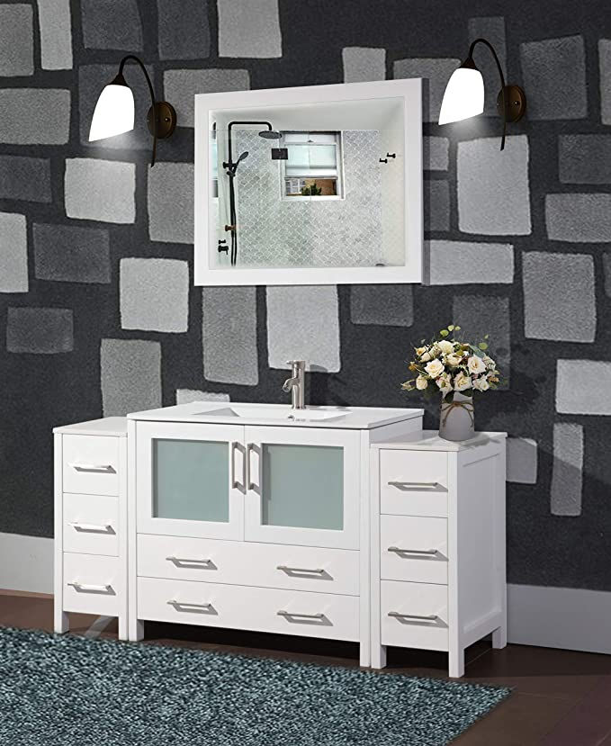Vanity Art 60 Inch Single Sink Modern Bathroom Vanity Compact Set 1 Shelf 8 Drawers Ceramic Top Bathroom Cabinet With Free Mirror White Va3036 60 W Amazon Ca Home Kitchen