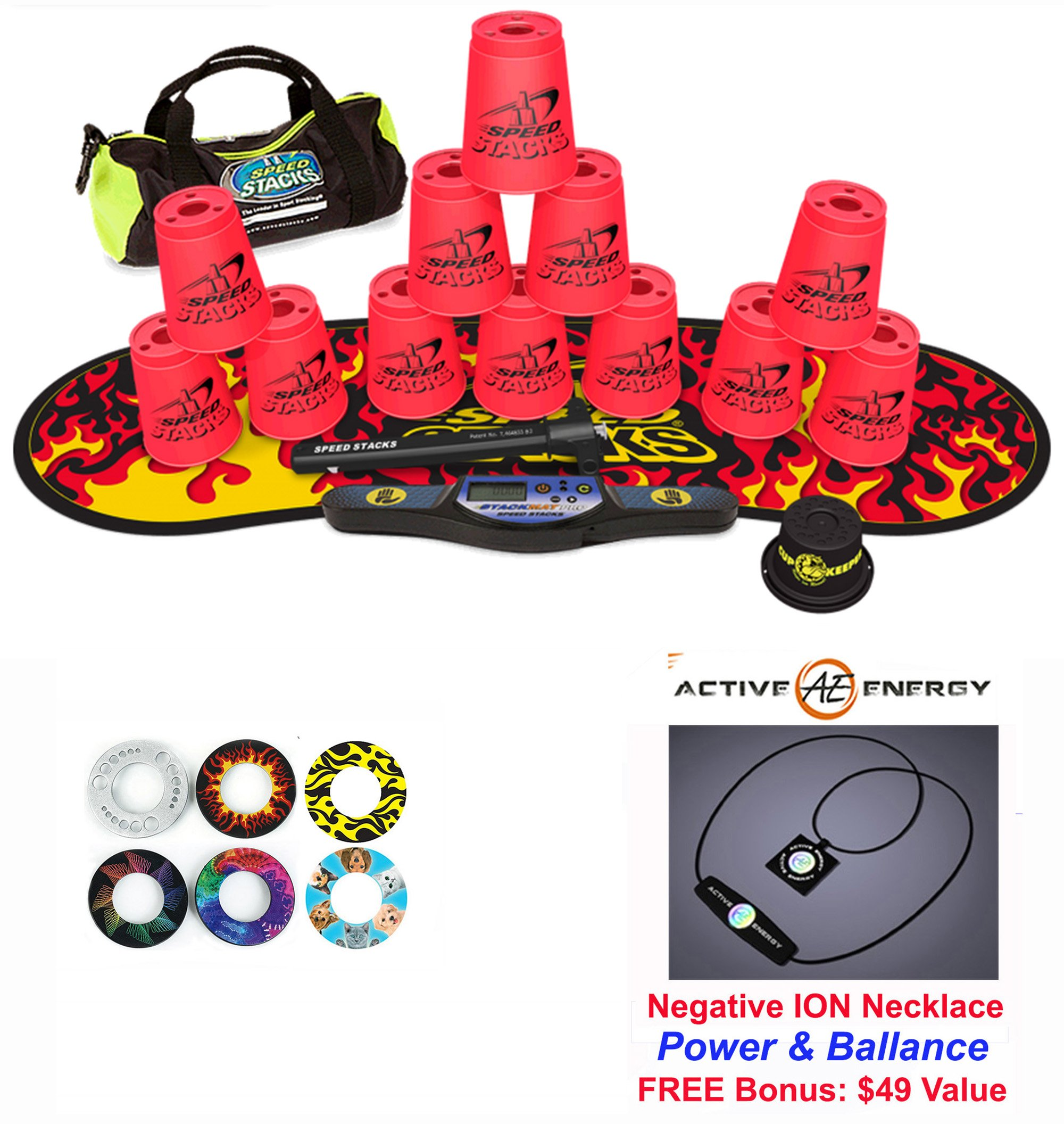 Speed Stacks Custom Combo Set - The Works: 12 PINK 4'' Cups, Cup Keeper, Quick Release Stem, Pro Timer, Gen 3 Premium Black Flame Mat, 6 Snap Tops, Gear Bag + FREE: Active Energy Power Necklace $49
