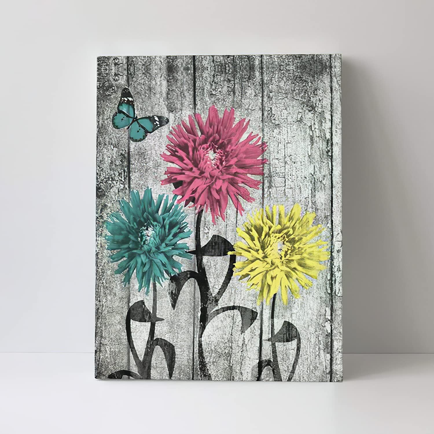 Abstract Retro Flower Canvas Wall Art Decor (12x16 in) Butterfly Fly towards chrysanthemum's Wooden picture frame for Bedroom, Dining Room, Office, Home Decor