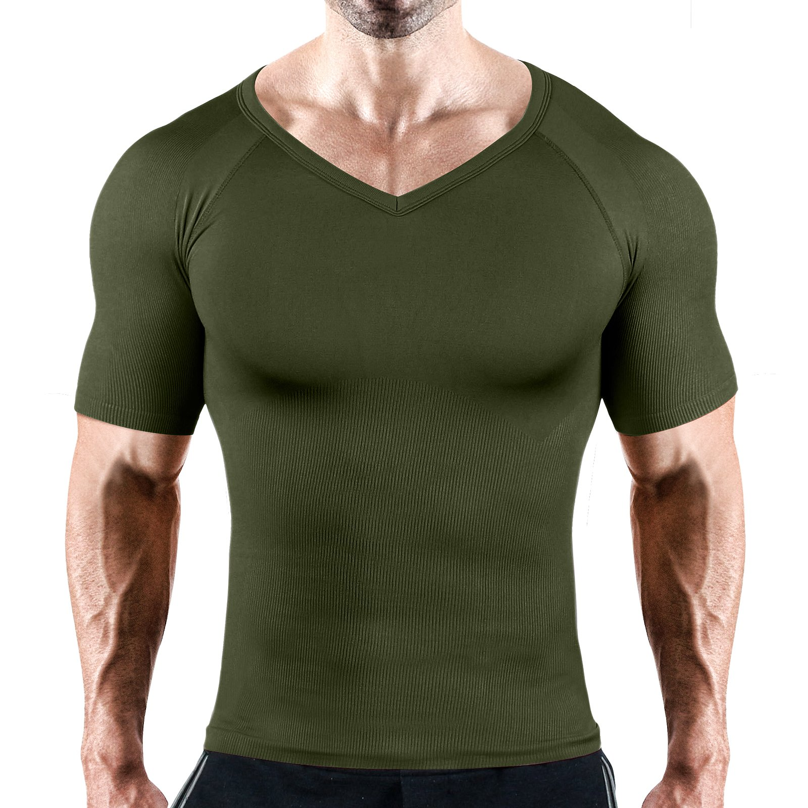 Hoter Mens Slim and Tight Super Soft Compression & Slimming Shaper V-Neck Compression Shirt by HÖTER (Image #1)