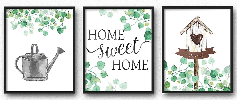Brooke & Vine Farmhouse Wall Decor Art Prints (UNFRAMED 8 x 10 Set of 3) Rustic Wall Decor, Family Room, Living Room, Kitchen, Bedroom, Bathroom - Ivy Botanical, Birdhouse, Home Sweet Home