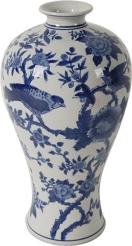 A B Home Ren Blue White Bird Vase