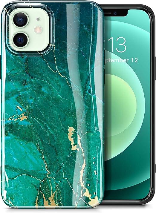 Gviewin Aurora Lite Series Kompatibel Mit Iphone 12 Hülle Iphone 12 Pro Hülle 6 1 2020 Ultra Dünn Glänzend Weich Silikon Tpu Marmor Stoßfest Handyhülle Cover Schutzhülle Grün Golden Elektronik