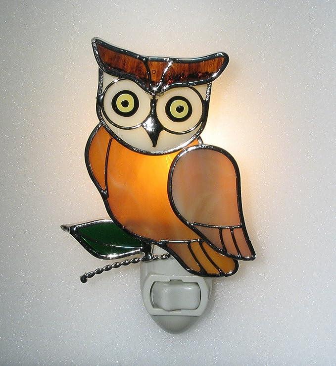Burrowing Owl Fused Glass Nigh Light