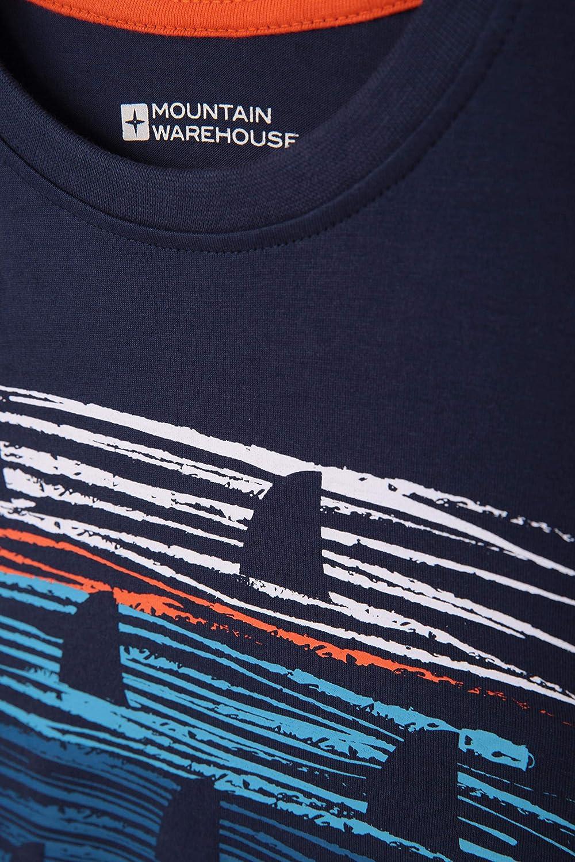 UV-Schutz 100/% Baumwolle leicht Aktivit/äten Fr/ühling atmungsaktiv M/ädchen /& Jungen Mountain Warehouse Sunset Stripe Kinder-T-Shirt Bedruckt F/ür Picknicks
