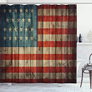 """Ambesonne USA Shower Curtain, Fourth of July Independence Day Painted Old Wooden Rustic Background Patriot, Cloth Fabric Bathroom Decor Set with Hooks, 70"""" Long, Blue Red Pale Brown"""
