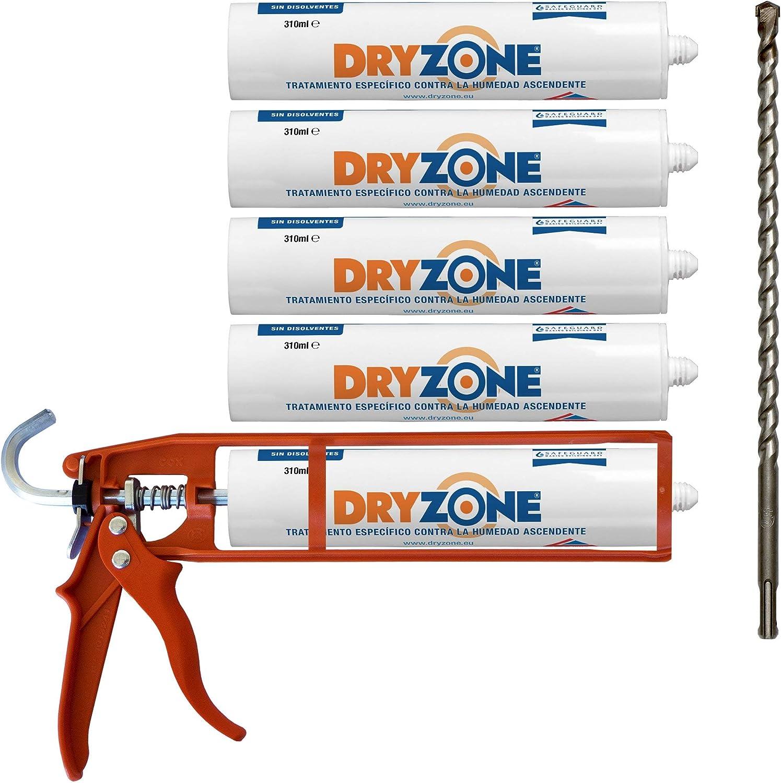 Dryzone kit de inyección química para tratamiento de humedad capilar - Incluye gel de inyección + Pistola de calafateo + Broca Dryzone (cubrimiento de 8.5 metros)