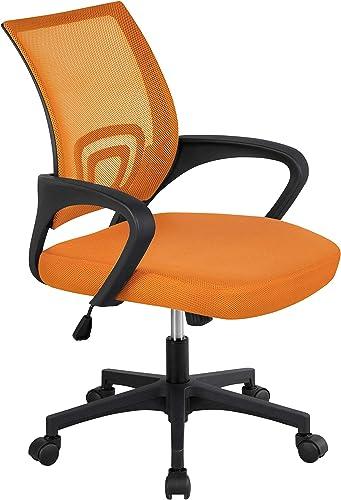 Topeakmart Mid Back Swivel Ergonomic Orange Mesh Office Chair