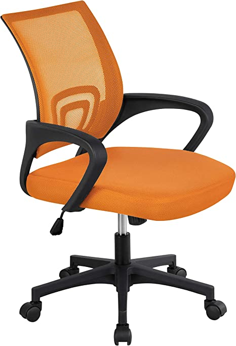 Amazon Com Topeakmart Mid Back Swivel Ergonomic Orange Mesh Office Chair Lumbar Support Task Chairs For Workplace Furniture Decor