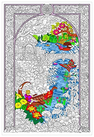 Amazon.com: Enchanted Lake - Giant Wall Size Coloring Poster ...