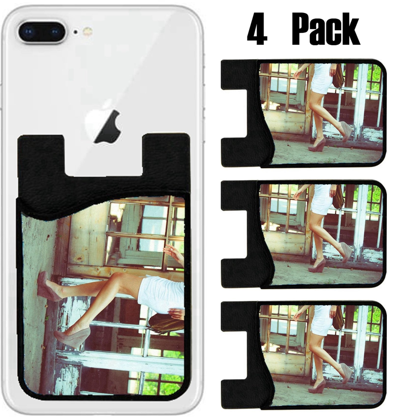 MSD Phone Card holder sleeve wallet for iPhone Samsung Android and all smartphones with removable microfiber screen cleaner Silicone card Caddy(4 Pack) IMAGE ID 20887217 woman in white summer dress a