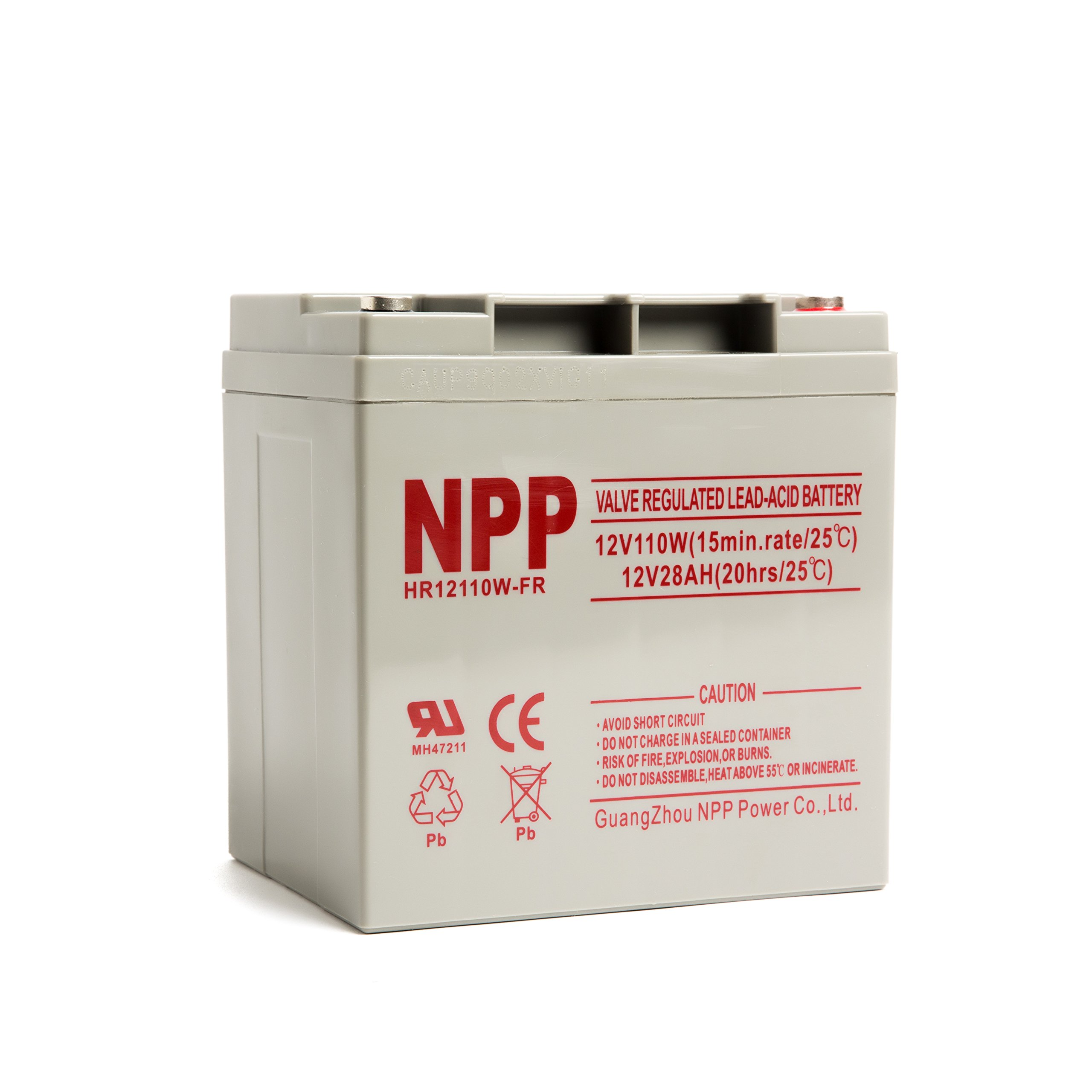 NPP NP12110W FR 12V 28Ah Rechargeable AGM Lead Acid Battery with Button Style Terminals by NPP