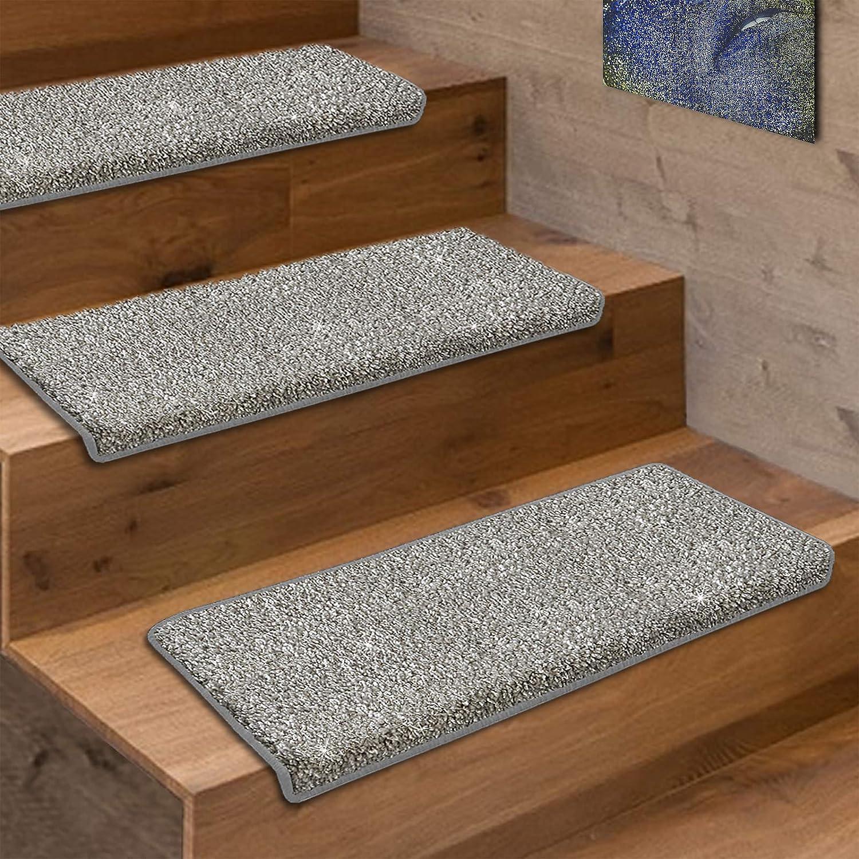 Casa pura Stufenmatten-Set Memphis     viele Varianten   mit eingewebten Glitzerfäden   kombinierbar mit passenden Läufern   Silber - Halbrund - 15 Stück Set B07GSZHXPJ Stufenmatten 8c1da5