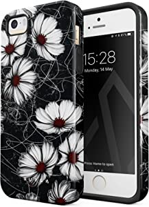 BURGA Phone Case Compatible with iPhone 5 iPhone 5s iPhone SE - Senseless Cosmos Dark Black Floral Pattern Cute Case for Girls Heavy Duty Shockproof Dual Layer Hard Shell + Silicone Protective Cover