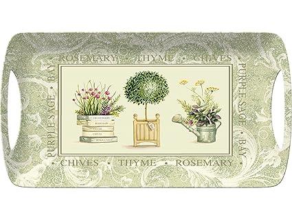 Creative Tops Topiary Bandeja de melamina con Asas, plástico, Verde, pequeño