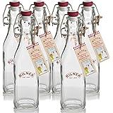 Kilner Traditional 6 Piece Set Vintage Style Square Airtight Clip Top Preserve Glass Bottles, 0.25 Litre