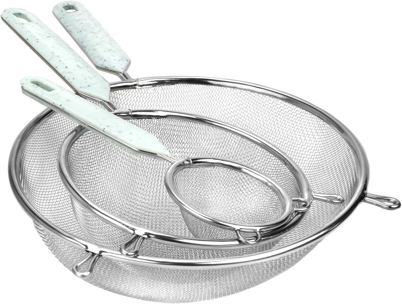 Cook With Color Set of 3 Fine Mesh Strainer, Colander, Sieve, Kitchen Sifter, Skimmer, Stainless Steel Strainer, Small Strainer, Medium and Large Mesh Strainer with Plastic Handles (Mint))