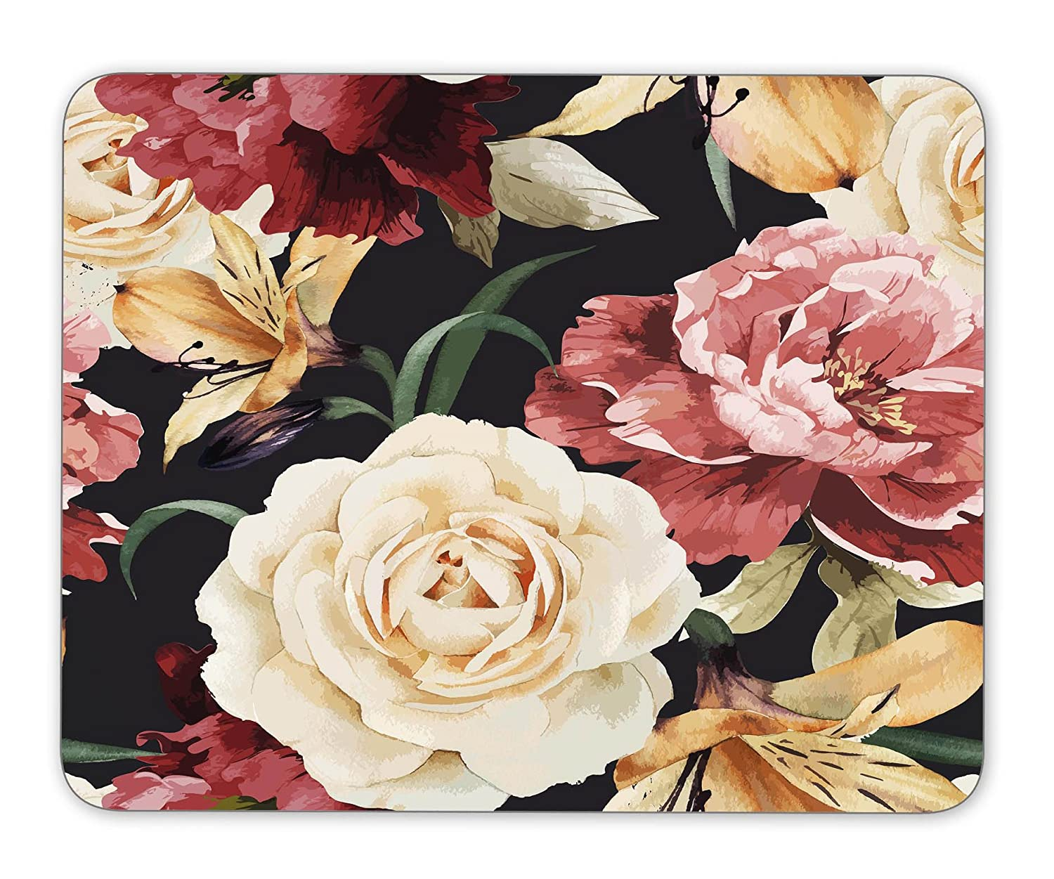 Seamless floral pattern with roses, watercolor Mouse Pad Office Mouse Pad Gaming Mouse Pad Mouse Mat MousePad Non-slip rubber backing