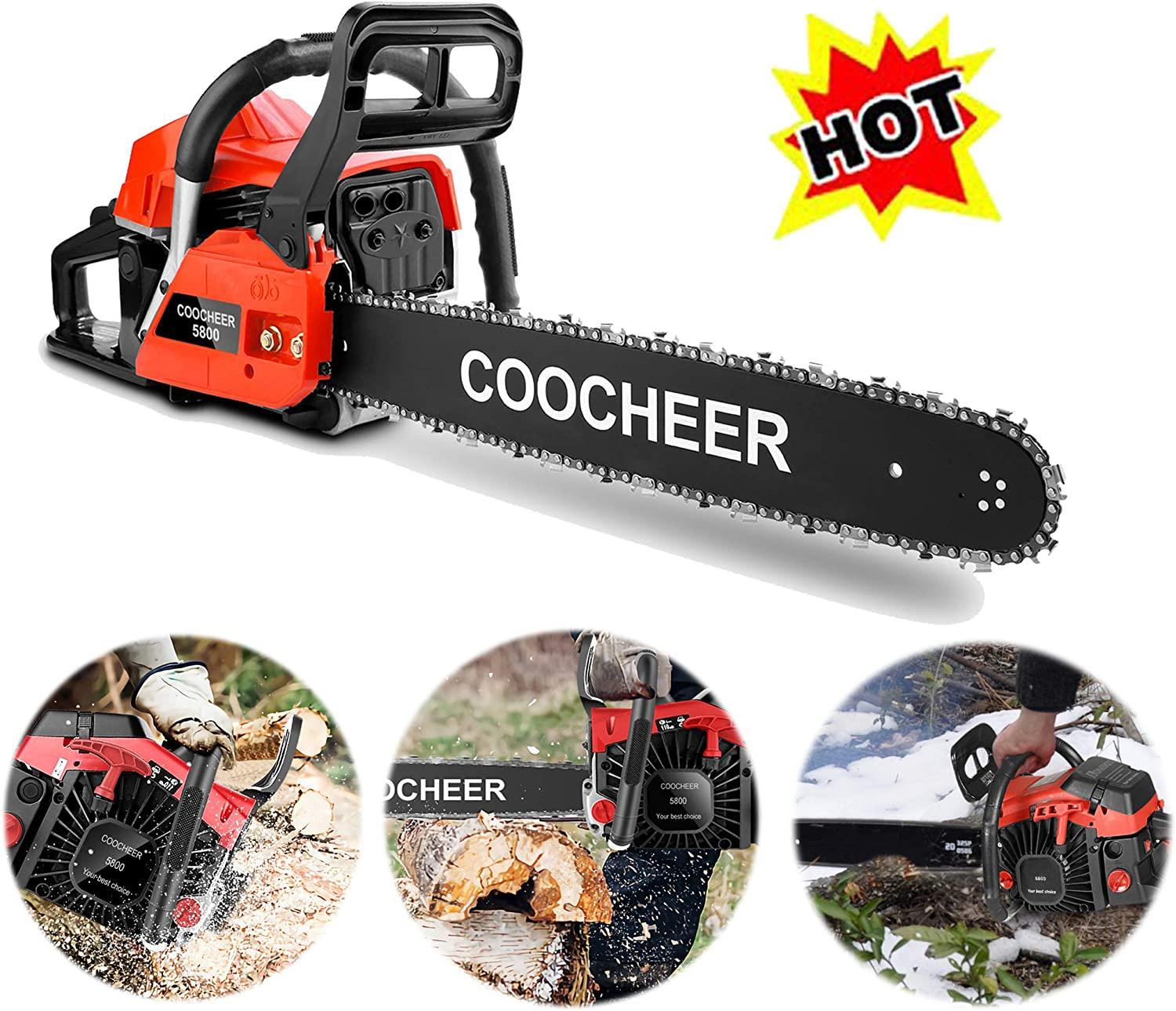 OppsDecor XP2300 58cc Gas Powered Chainsaw, 20 Inch 2 Stroke Handed Petrol Gasoline Chain Saw for Cutting Wood with Tool Kit,Garden Farm Home Use US Stock Orange