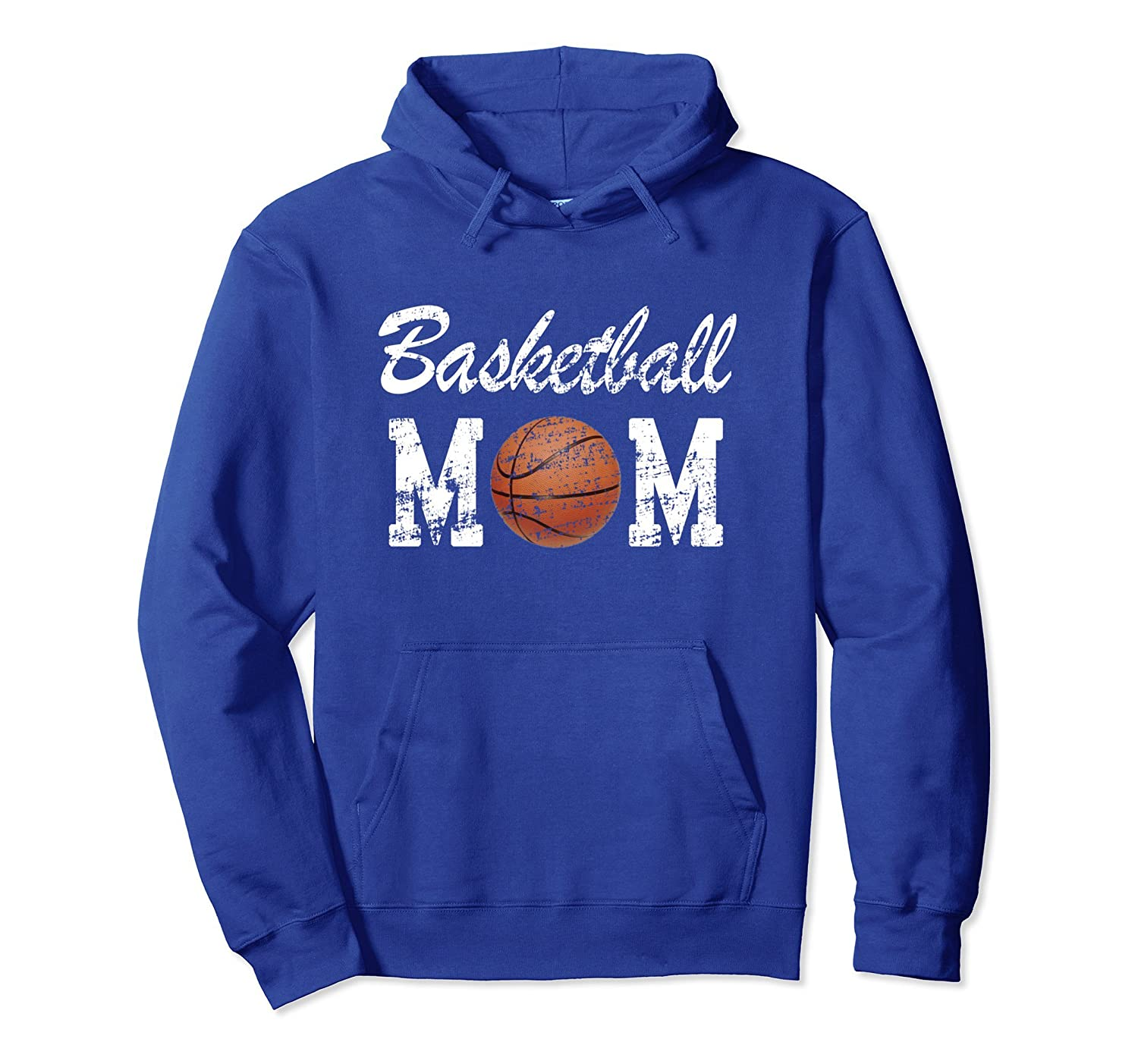 Basketball Mom Cute Novelty Distressed Pullover Hoodie-ln