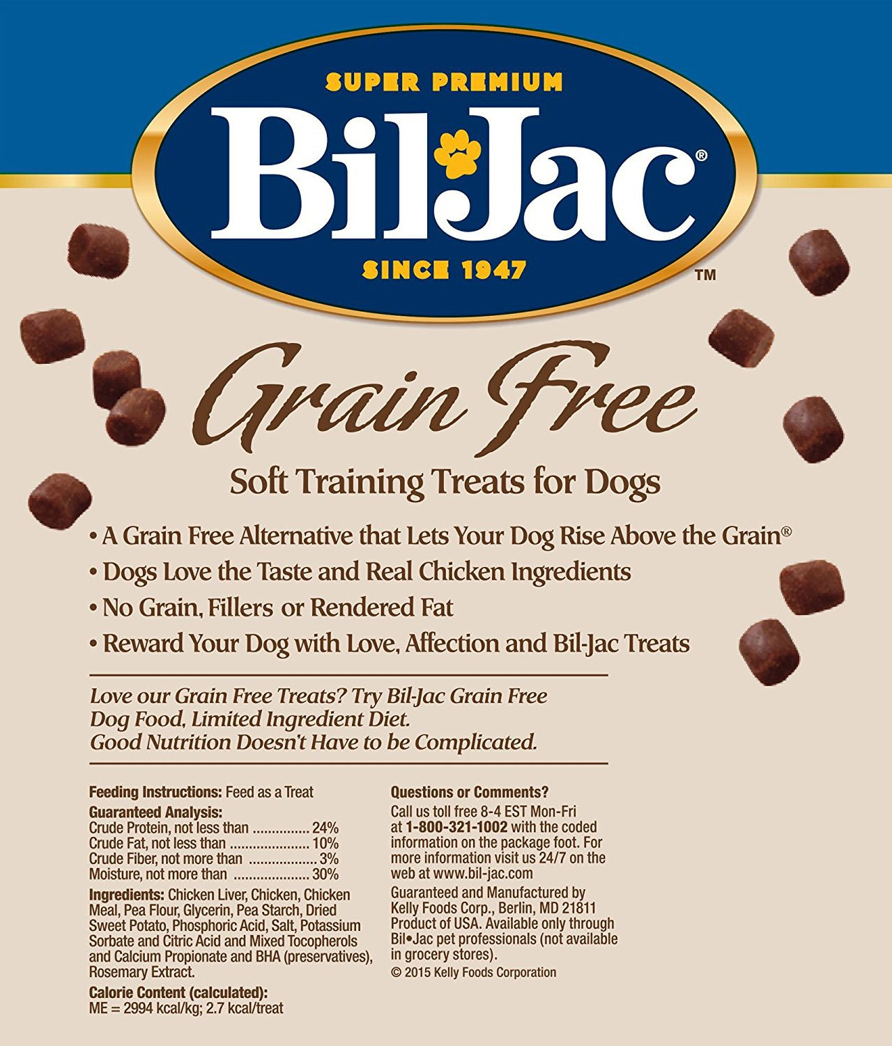 Bil Jac Grain Free Soft Training Treats for Dogs – Chicken and Sweet Potato Formula – 10 oz Packs