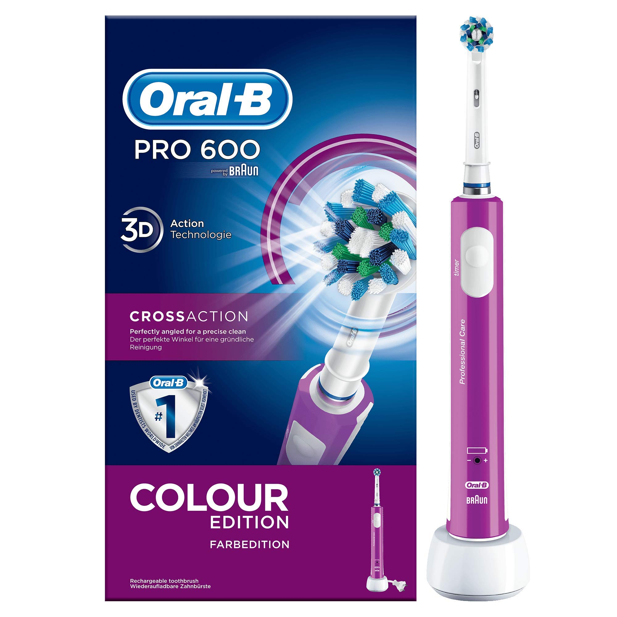 Oral-B PRO 600 CrossAction - Cepillo eléctrico recargable, color morado, batería, 3d tecnología product image