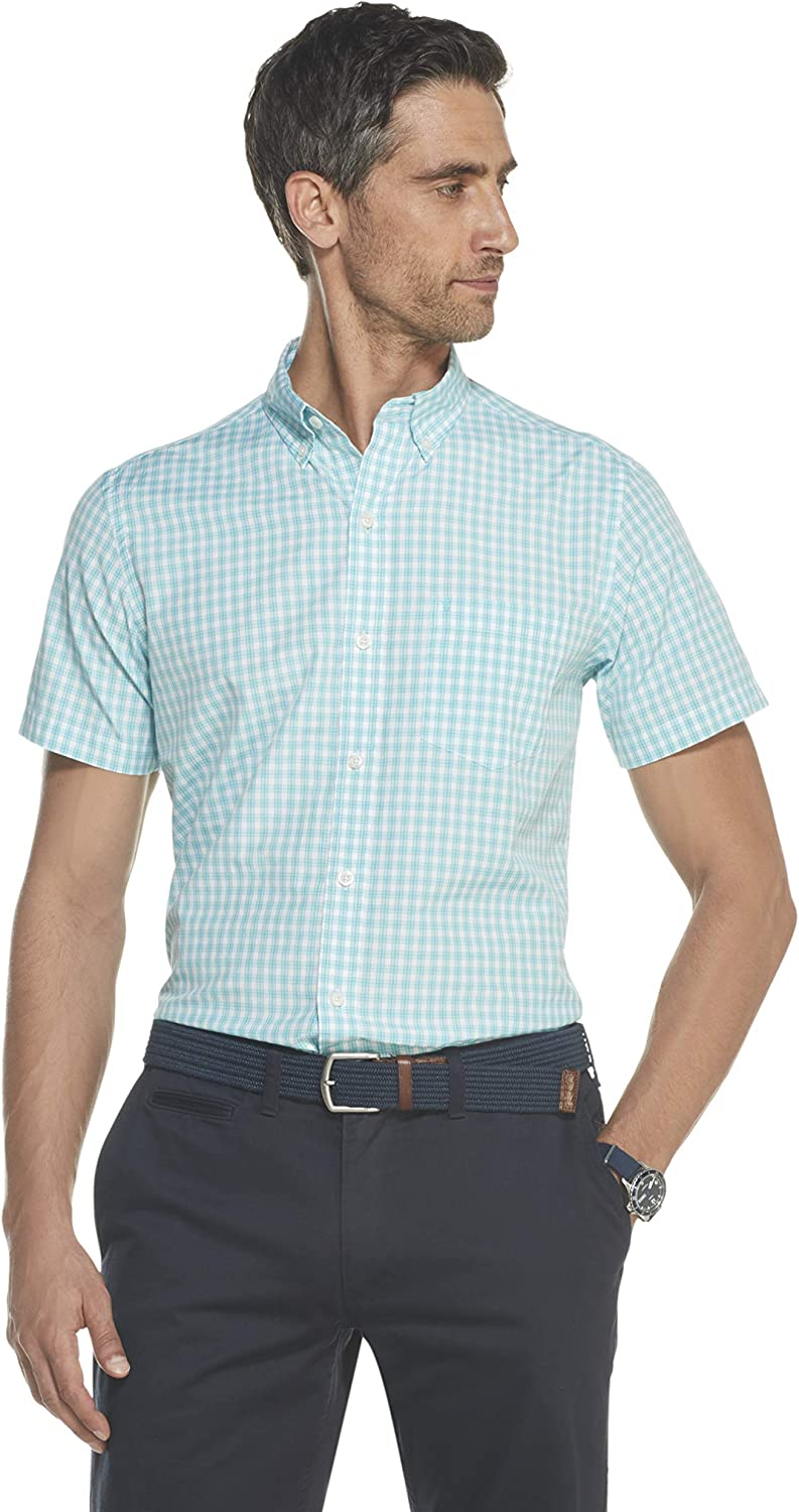 IZOD Men's Challenge the lowest price of Japan ☆ Breeze Short Sleeve Gingham Shirt Max 58% OFF Down Button